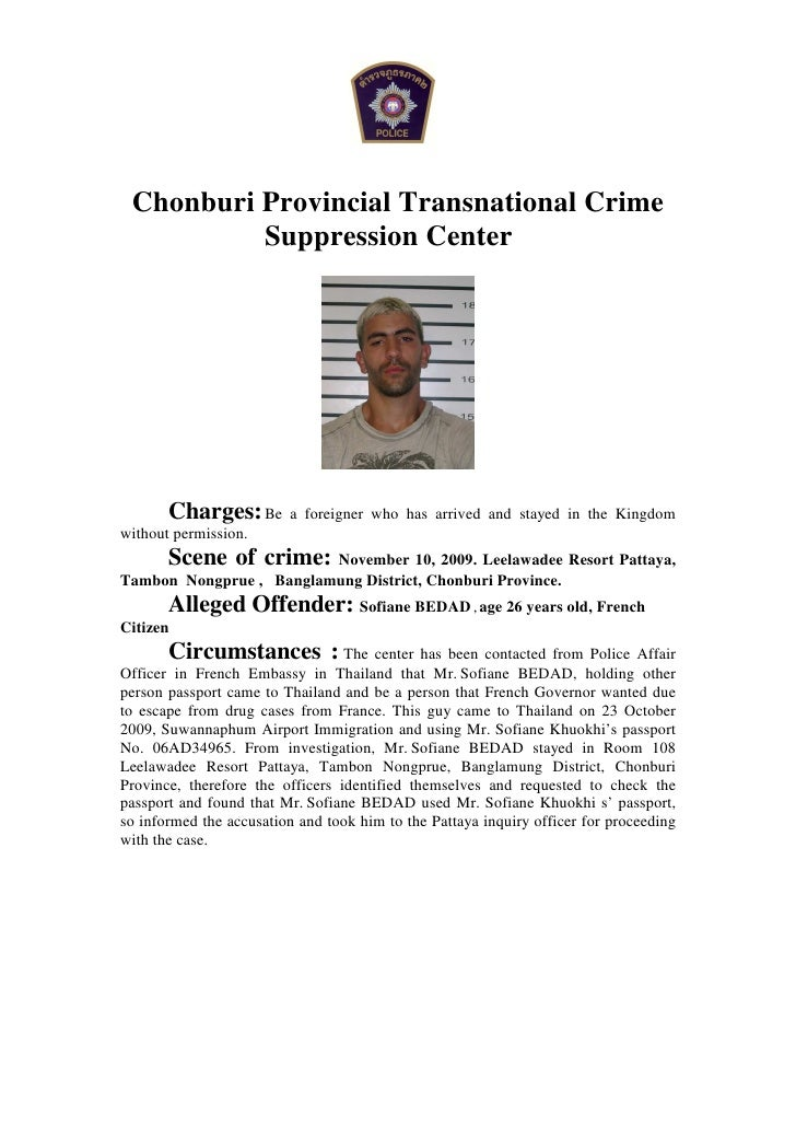 Chonburi Provincial Transnational Crime           Suppression Center            Charges: Be       a foreigner who has arri...