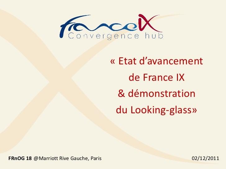 « Etat d'avancement                                            de France IX                                          & dém...