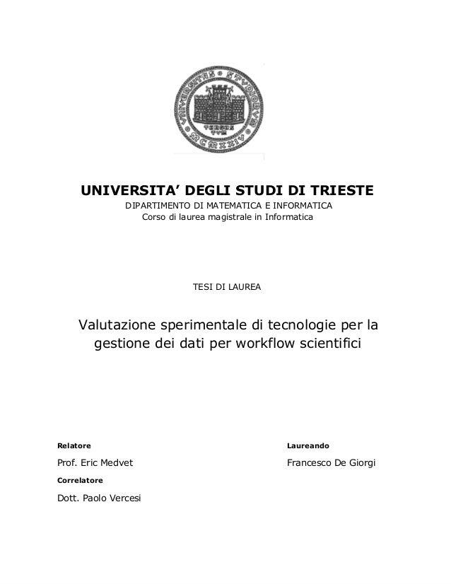 UNIVERSITA' DEGLI STUDI DI TRIESTE                 DIPARTIMENTO DI MATEMATICA E INFORMATICA                    Cor...