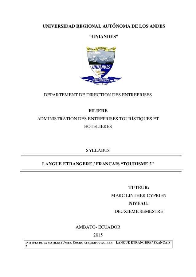 """UNIVERSIDAD REGIONAL AUTÓNOMA DE LOS ANDES """"UNIANDES"""" DEPARTEMENT DE DIRECTION DES ENTREPRISES FILIERE ADMINISTRATION DES ..."""