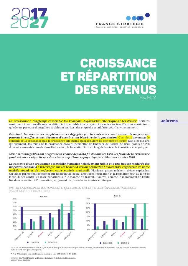 AOÛT 2016La croissance a longtemps rassemblé les Français. Aujourd'hui elle risque de les diviser. Certains continuent à v...
