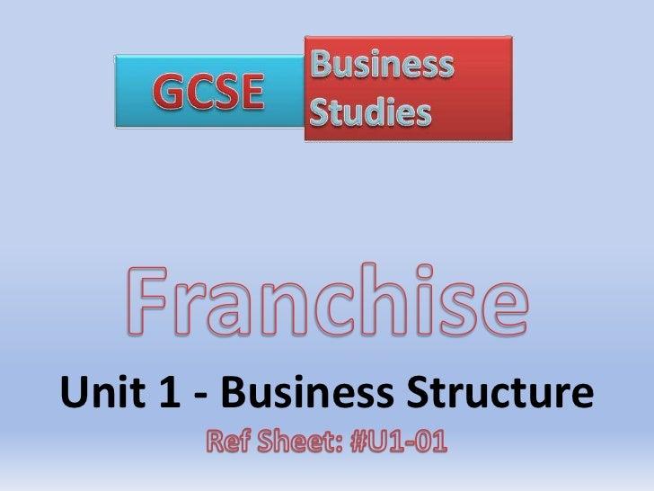 Franchise<br />Unit 1 - Business Structure<br />Ref Sheet: #U1-01<br />