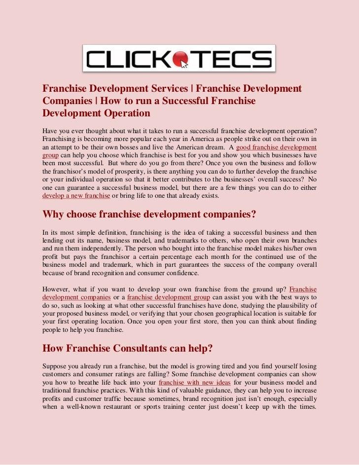 Franchise Development Services | Franchise Development Companies | How to run a Successful Franchise Development Operation