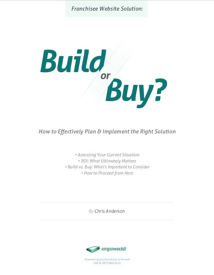 Franchisee Websites: Build or Buy