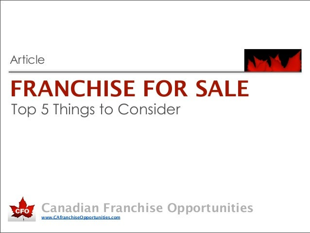 Franchise for Sale - Top 5 Things to Consider