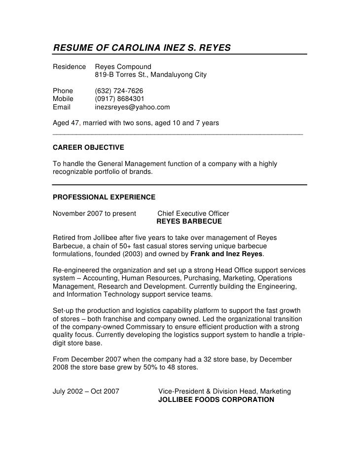 RESUME OF CAROLINA INEZ S. REYES<br />ResidenceReyes Compound<br />819-B Torres St., Mandaluyong City<br />Phone(632) 724-...