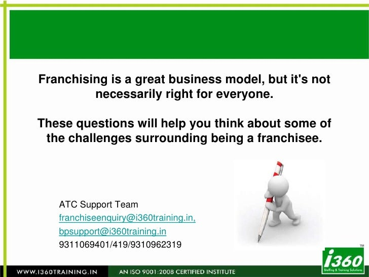 Franchising is a great business model, but it's not necessarily right for everyone. These questions will help you think ab...