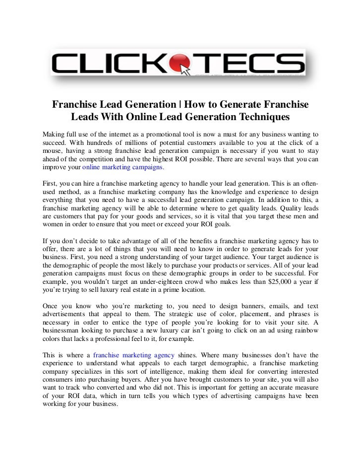 Franchise Lead Generation | How to Generate Franchise      Leads With Online Lead Generation TechniquesMaking full use of ...