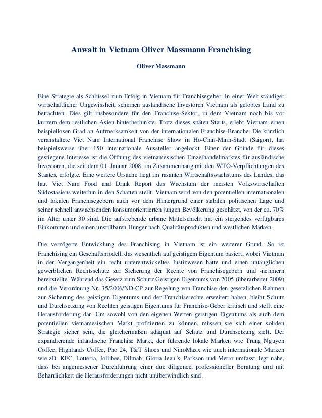 Anwalt in Vietnam Oliver Massmann Franchising Oliver Massmann Eine Strategie als Schlüssel zum Erfolg in Vietnam für Franc...