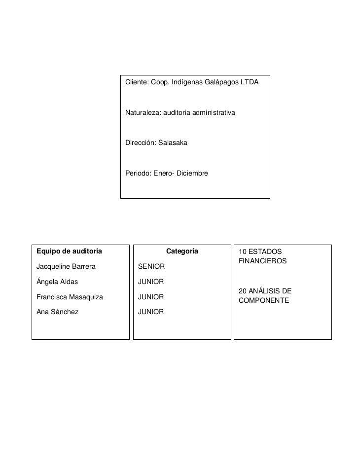 Cliente: Coop. Indígenas Galápagos LTDA                      Naturaleza: auditoria administrativa                      Dir...