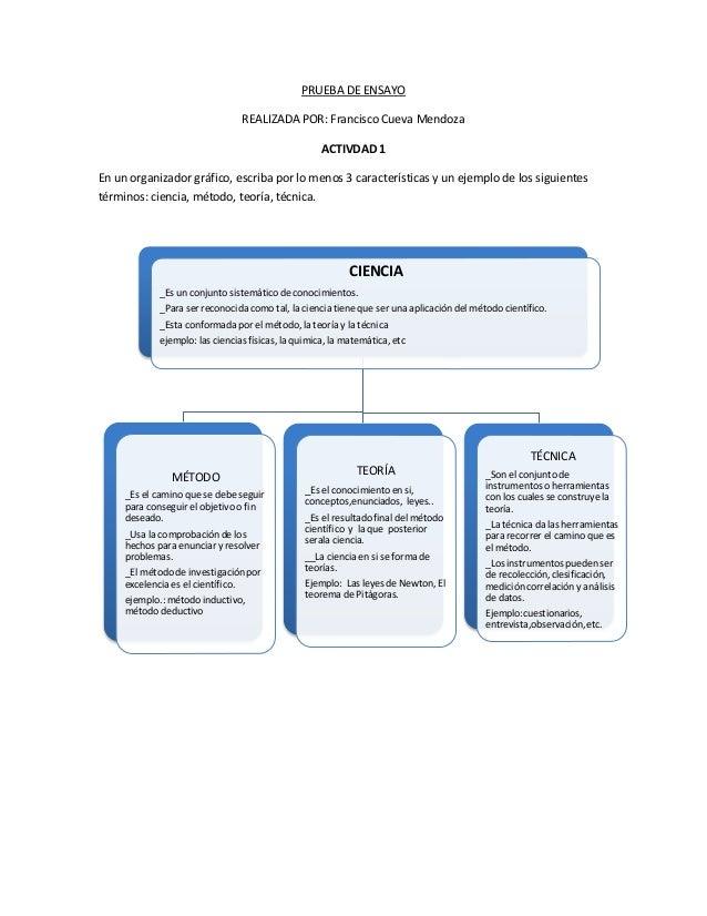 PRUEBA DE ENSAYO REALIZADA POR: Francisco Cueva Mendoza ACTIVDAD 1 En un organizador gráfico, escriba por lo menos 3 carac...