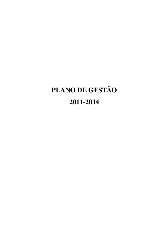 PLANO DE GESTÃO 2011-2014