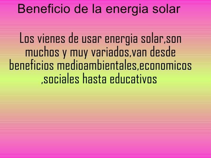 Beneficios Energia Solar Beneficio de la Energia Solar