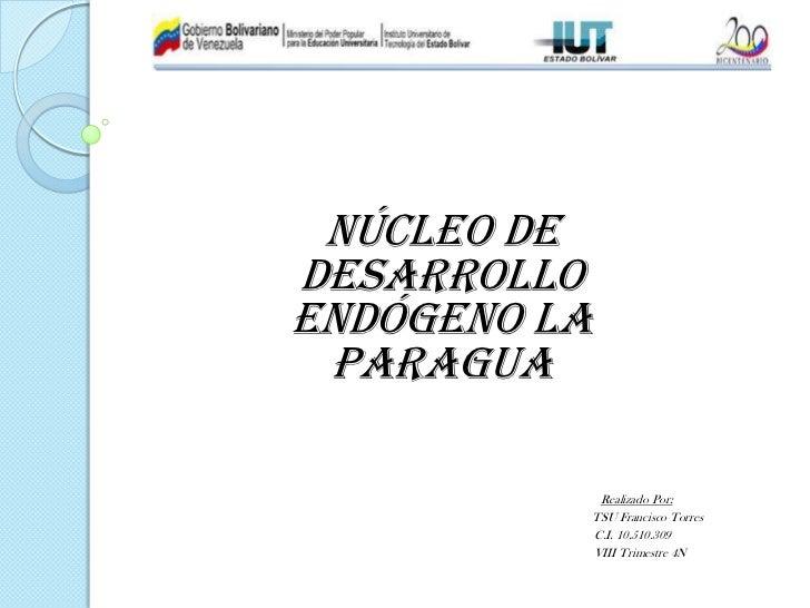 Núcleo deDesarrolloEndógeno La Paragua               Realizado Por:              TSU Francisco Torres              C.I. 10...