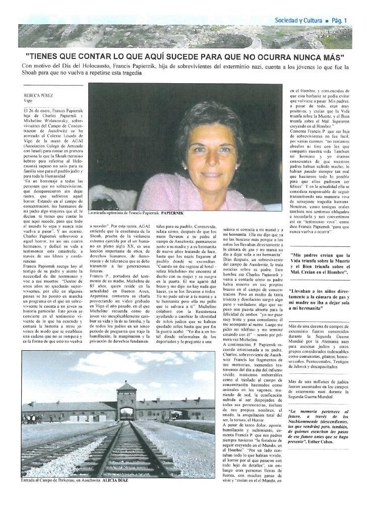 Francis Papiernik na revista O Noso País