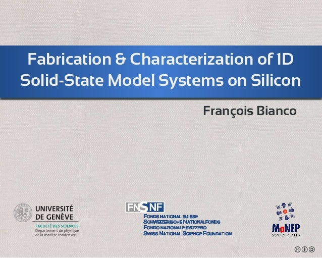 Fabrication & Characterization of 1DSolid-State Model Systems on SiliconFONDS NATIONAL SUISSESCHWEIZERISCHE NATIONALFONDSF...