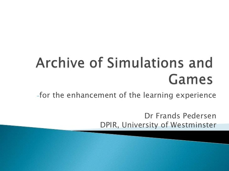 Frands Petersen: Archive of simulations and games