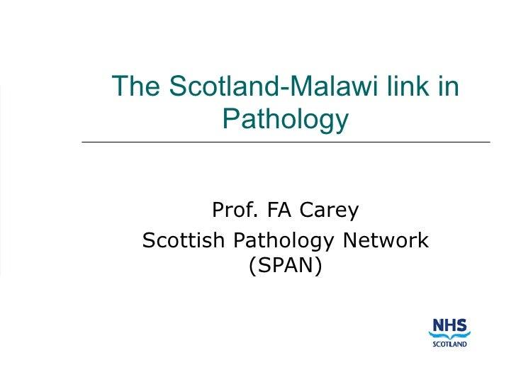 The Scotland-Malawi link in Pathology Prof. FA Carey Scottish Pathology Network (SPAN)