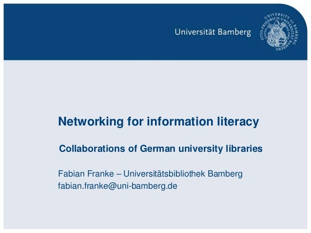 Networking for information literacy – collaborations of German university libraries - Fabian Franke