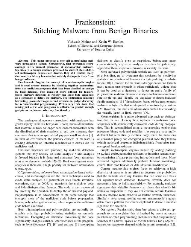 Frankenstein. stitching malware from benign binaries