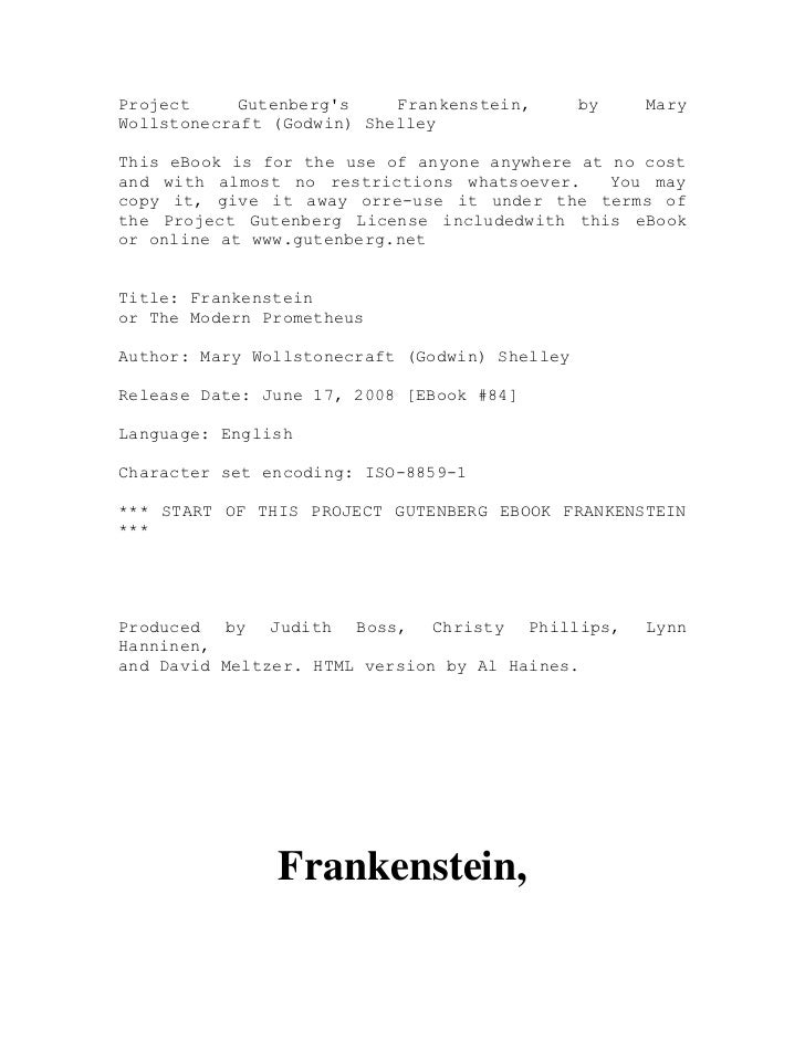 Project     Gutenbergs    Frankenstein,       by   MaryWollstonecraft (Godwin) ShelleyThis eBook is for the use of anyone ...