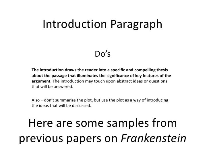 frankienstien essay thesis Critical lens essay frankenstein this essay represents 50% of your final exam grade silver day students: your essay is due in turnitin before monday, 12/16.