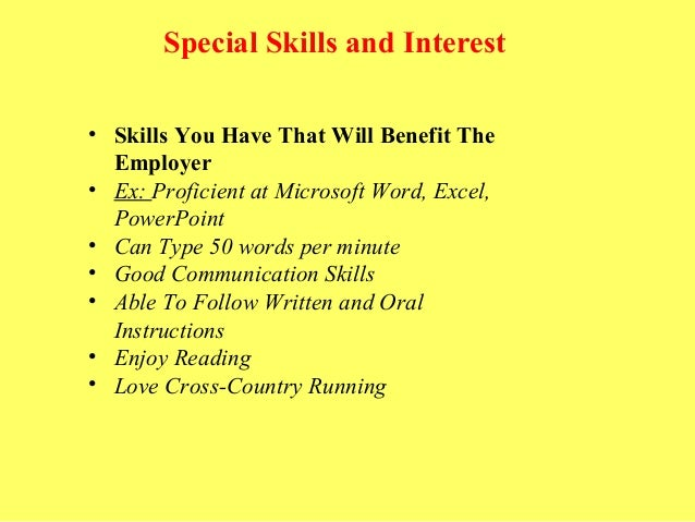 special skills and interests for resumes - Template