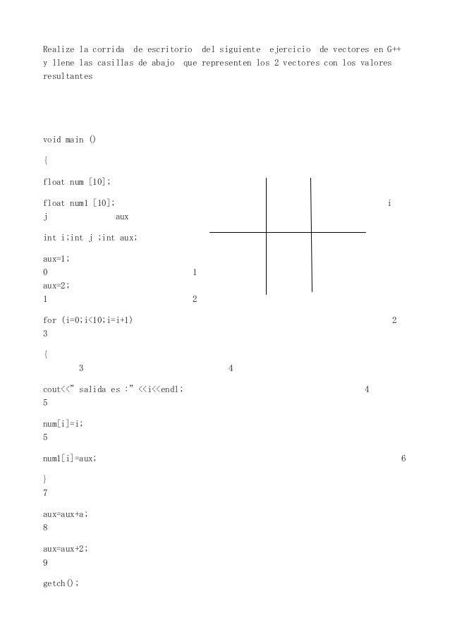 Realize la corrida     de escritorio       del siguiente   ejercicio   de vectores en G++y llene las casillas de abajo    ...