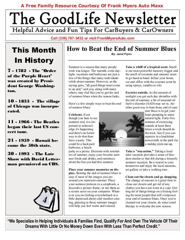 """This Month In History A Free Family Resource Courtesy Of Frank Myers Auto Maxx """"We Specialize In Helping Individuals & Fam..."""