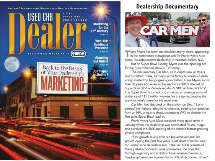 Frank Myers Auto Featured In Used Car Dealer Magazine - March 2012