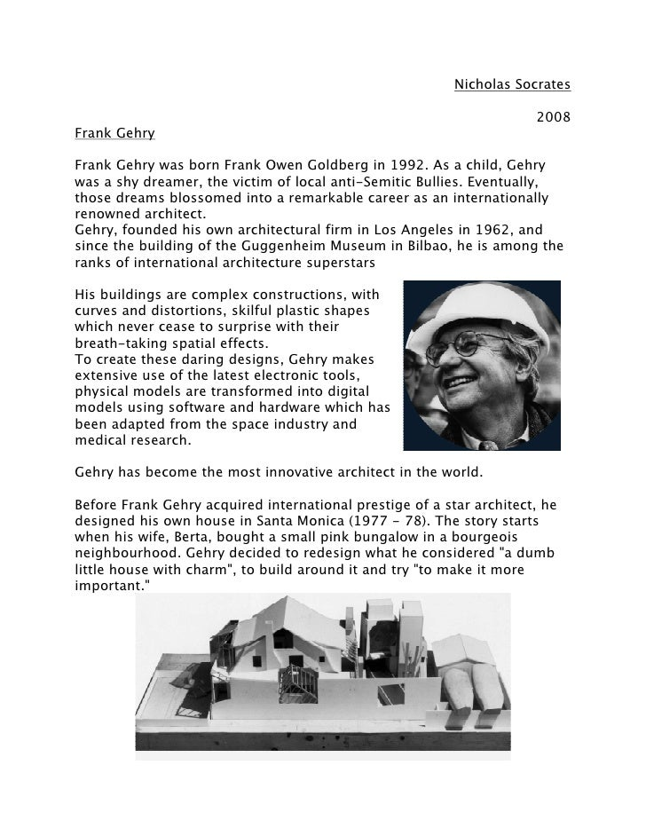Frank Gehry: Study & Research