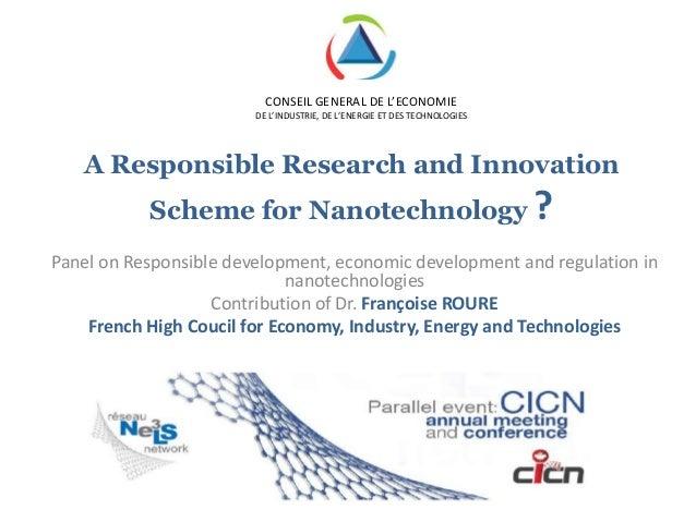 CONSEIL GENERAL DE L'ECONOMIE                        DE L'INDUSTRIE, DE L'ENERGIE ET DES TECHNOLOGIES   A Responsible Rese...