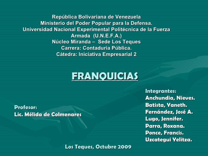 República Bolivariana de Venezuela Ministerio del Poder Popular para la Defensa. Universidad Nacional Experimental Politéc...