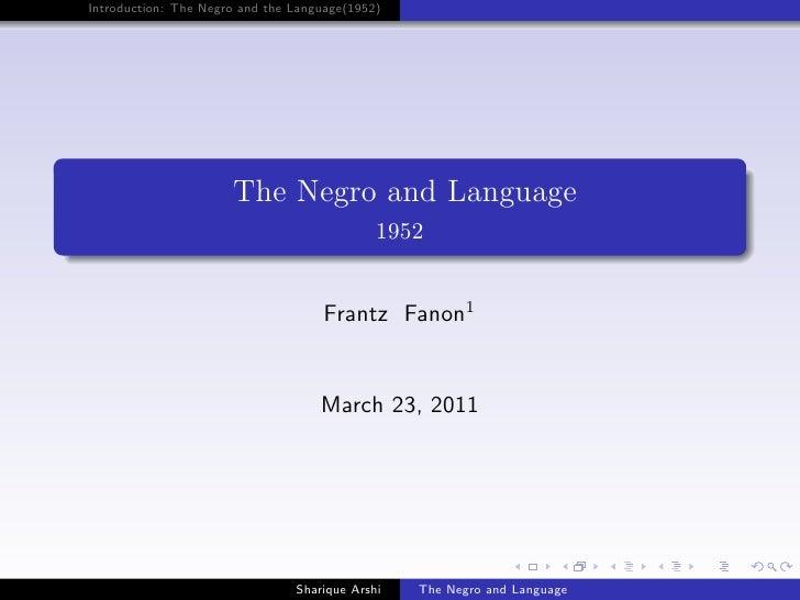 Frantz fanon intro