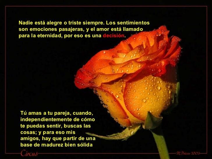 Nadie está alegre o triste siempre. Los sentimientos son emociones pasajeras, y el amor está llamado para la eternidad, po...