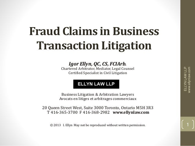 Fraud Claims in Business Transaction Litigation