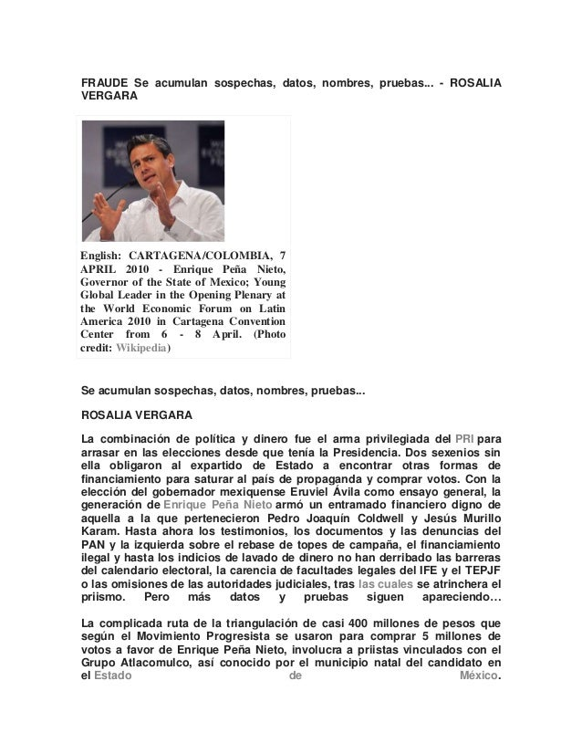 FRAUDE Se acumulan sospechas, datos, nombres, pruebas... - ROSALIAVERGARAEnglish: CARTAGENA/COLOMBIA, 7APRIL 2010 - Enriqu...