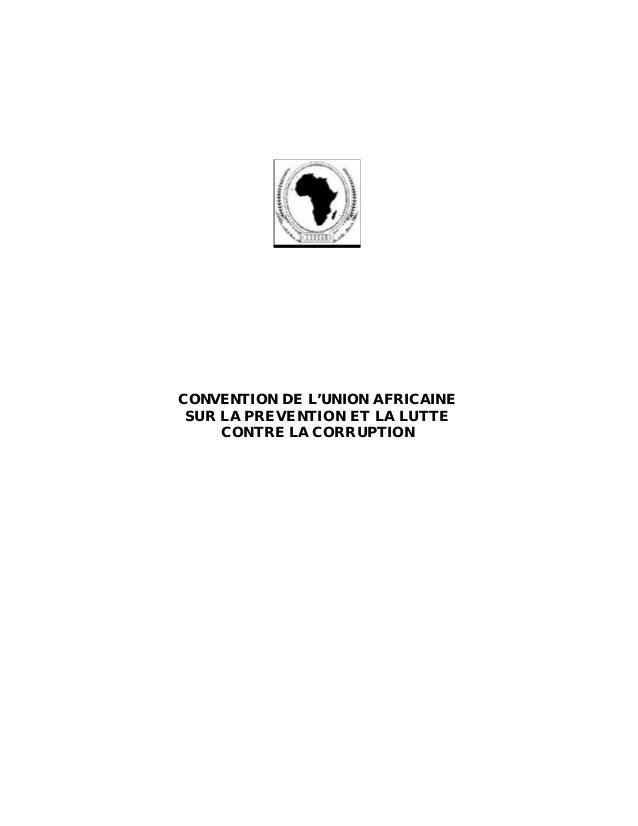 CONVENTION DE L'UNION AFRICAINE SUR LA PREVENTION ET LA LUTTE CONTRE LA CORRUPTION