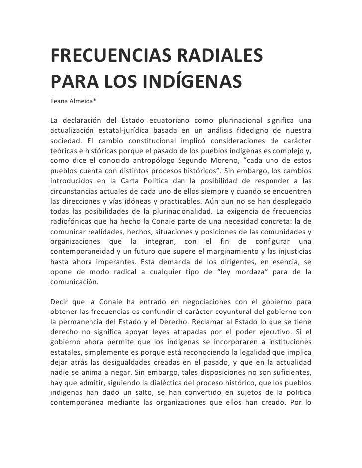 Frecuencias radiales para los indígenas