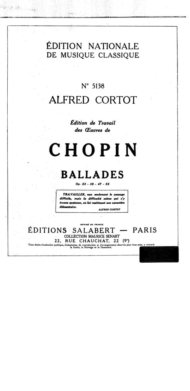 Frederic chopin   alfred cortot - edition de travail - ballades