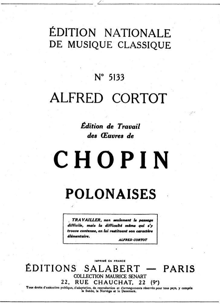 Frederic chopin   alfred cortot - edition de travail - polonaises