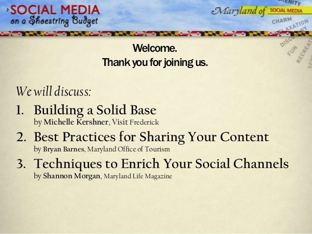 Welcome.                        Thank you for joining us.We will discuss:1. Building a Solid Base   by Michelle Kershner, ...