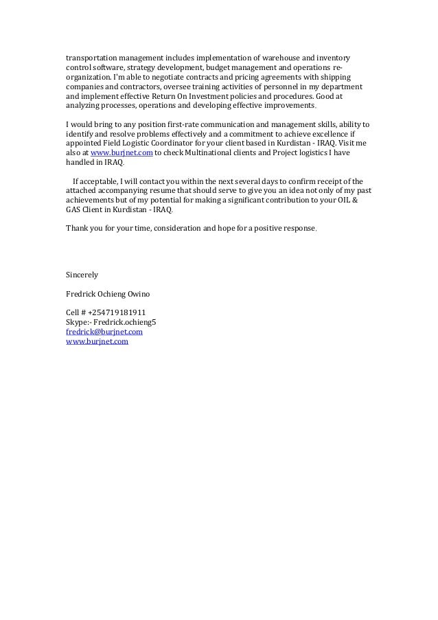 warehouse inventory cover letter
