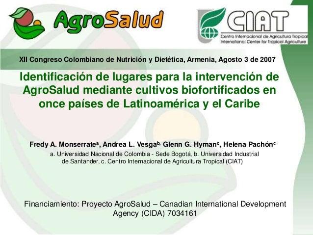 Identificación de lugares para la intervención de AgroSalud mediante cultivos biofortificados en once países de Latinoamér...