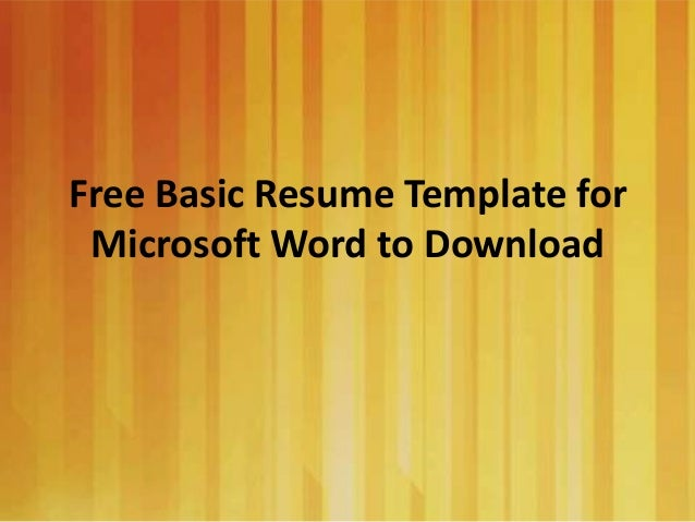 Basic Resume Templates Microsoft Word