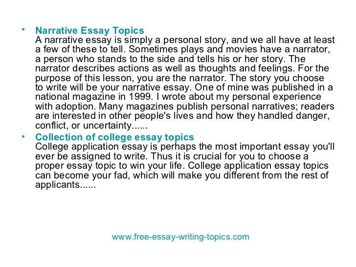 personal narrative essay topics