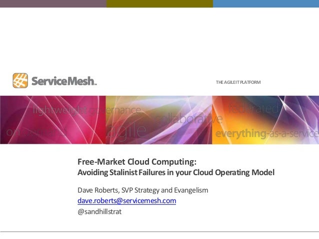 THE AGILE IT PLATFORMFree-Market Cloud Computing:Avoiding Stalinist Failures in your Cloud Operating ModelDave Roberts, SV...