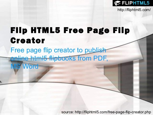 Flip HTML5 Free page flip creator to publish online html5 flipbooks from PDF, MS Word