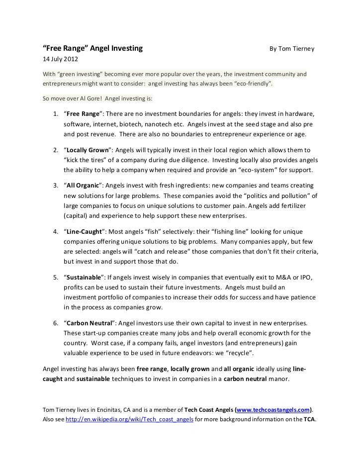 """""""Free Range"""" Angel Investing                                                      By Tom Tierney14 July 2012With """"green in..."""