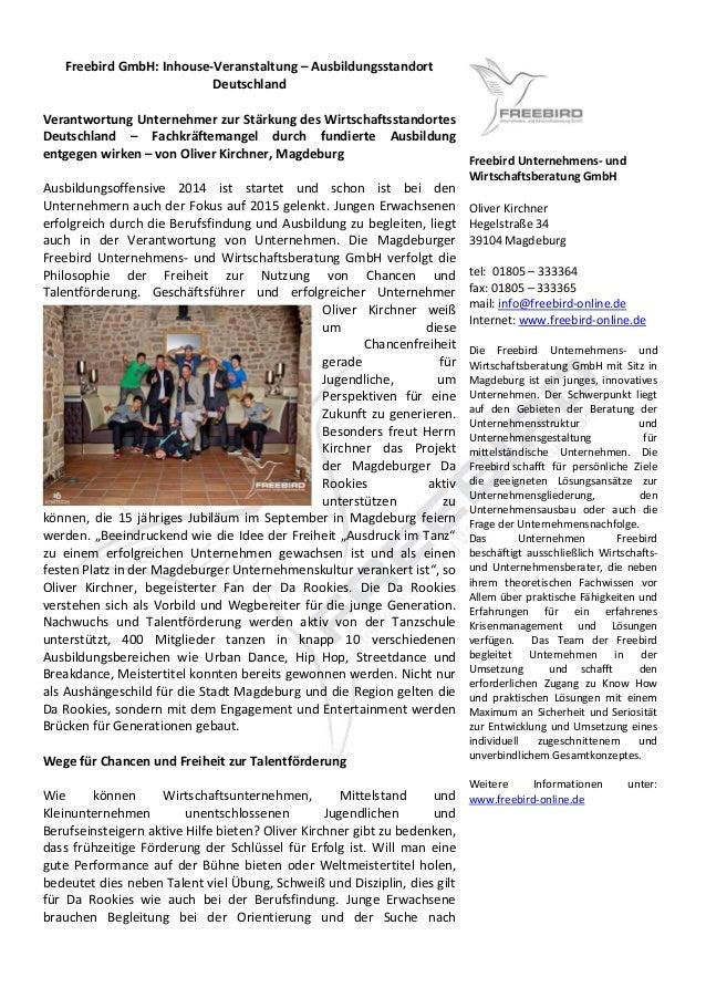 Freebird GmbH: Inhouse-Veranstaltung – Ausbildungsstandort Deutschland  Verantwortung Unternehmer zur Stärkung des Wirtsch...